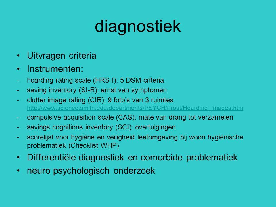 diagnostiek Uitvragen criteria Instrumenten: -hoarding rating scale (HRS-I): 5 DSM-criteria -saving inventory (SI-R): ernst van symptomen -clutter ima