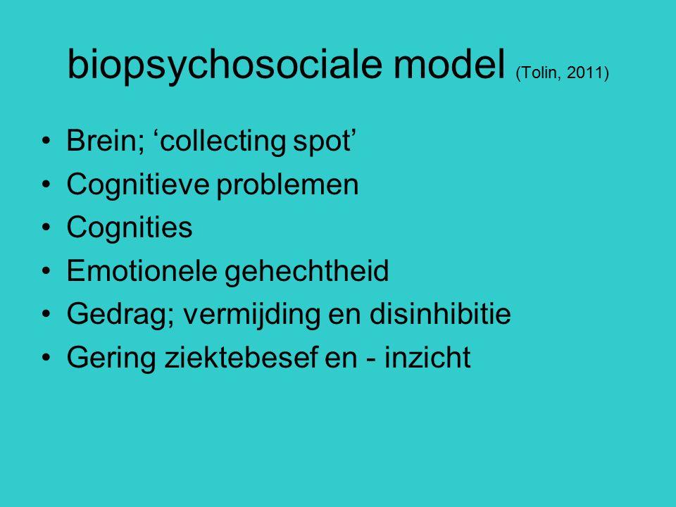 biopsychosociale model (Tolin, 2011) Brein; 'collecting spot' Cognitieve problemen Cognities Emotionele gehechtheid Gedrag; vermijding en disinhibitie