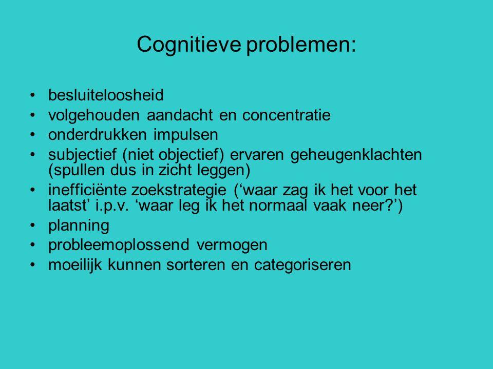 Cognitieve problemen: besluiteloosheid volgehouden aandacht en concentratie onderdrukken impulsen subjectief (niet objectief) ervaren geheugenklachten
