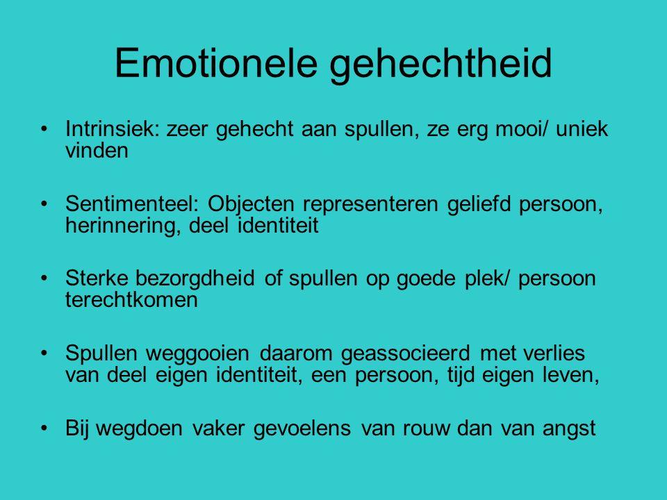 Emotionele gehechtheid Intrinsiek: zeer gehecht aan spullen, ze erg mooi/ uniek vinden Sentimenteel: Objecten representeren geliefd persoon, herinneri