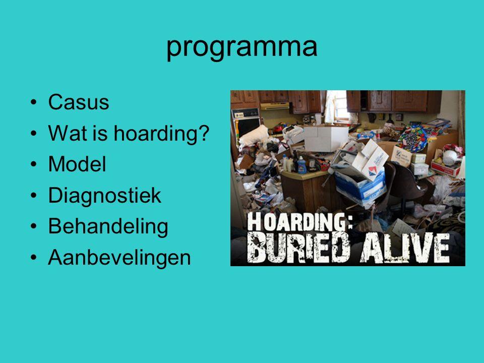 programma Casus Wat is hoarding? Model Diagnostiek Behandeling Aanbevelingen