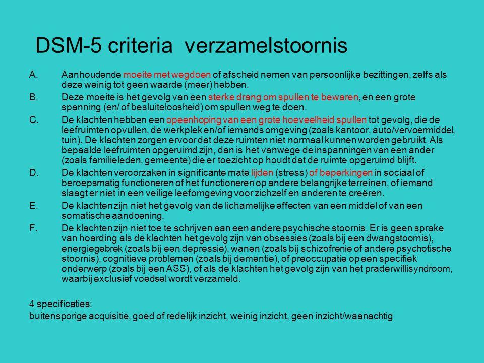 DSM-5 criteria verzamelstoornis A.Aanhoudende moeite met wegdoen of afscheid nemen van persoonlijke bezittingen, zelfs als deze weinig tot geen waarde
