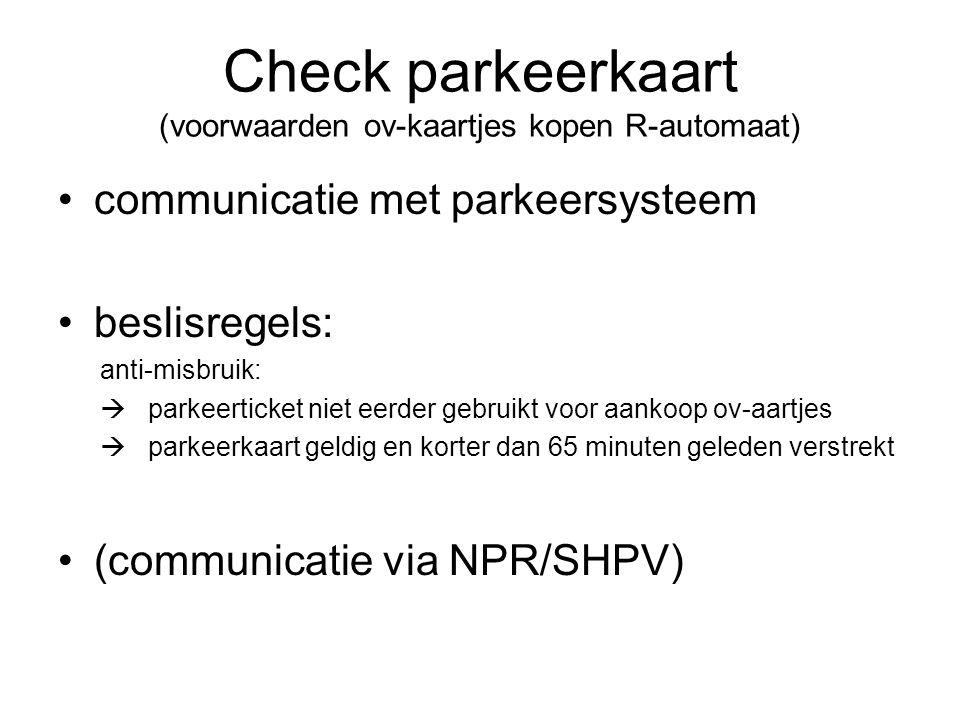 Check parkeerkaart (voorwaarden ov-kaartjes kopen R-automaat) communicatie met parkeersysteem beslisregels: anti-misbruik:  parkeerticket niet eerder gebruikt voor aankoop ov-aartjes  parkeerkaart geldig en korter dan 65 minuten geleden verstrekt (communicatie via NPR/SHPV)