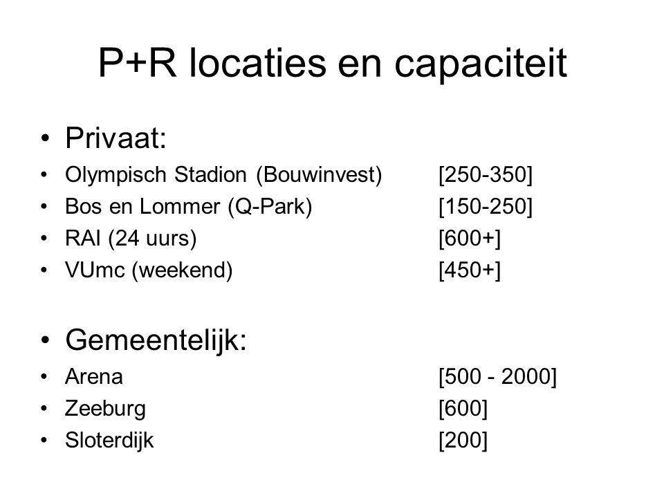 P+R locaties en capaciteit Privaat: Olympisch Stadion (Bouwinvest) [250-350] Bos en Lommer (Q-Park) [150-250] RAI (24 uurs)[600+] VUmc (weekend)[450+] Gemeentelijk: Arena [500 - 2000] Zeeburg [600] Sloterdijk [200]