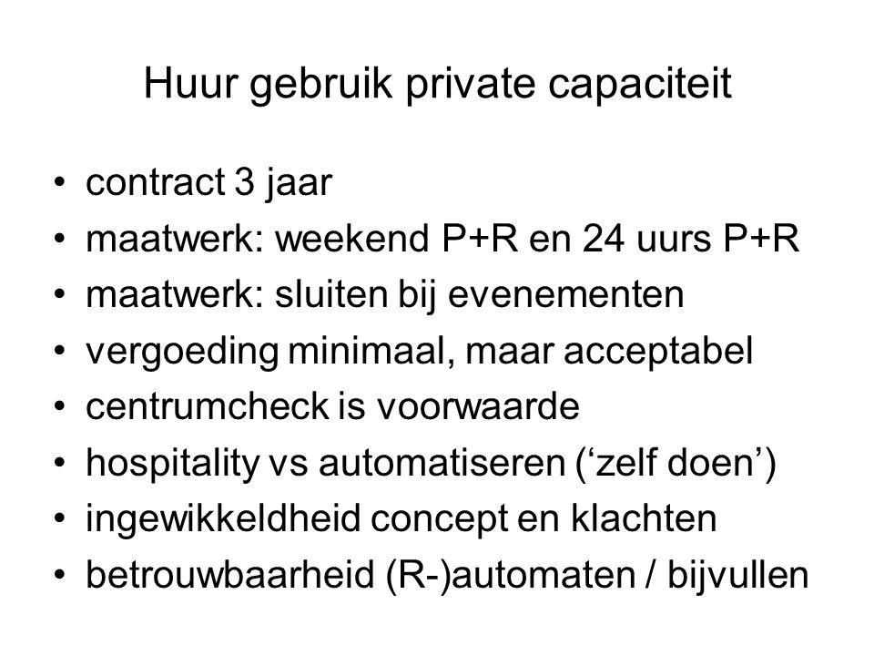 Huur gebruik private capaciteit contract 3 jaar maatwerk: weekend P+R en 24 uurs P+R maatwerk: sluiten bij evenementen vergoeding minimaal, maar acceptabel centrumcheck is voorwaarde hospitality vs automatiseren ('zelf doen') ingewikkeldheid concept en klachten betrouwbaarheid (R-)automaten / bijvullen