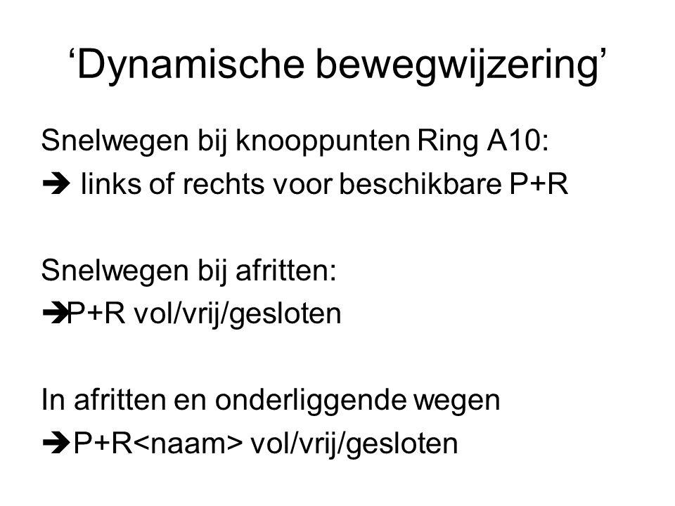 'Dynamische bewegwijzering' Snelwegen bij knooppunten Ring A10:  links of rechts voor beschikbare P+R Snelwegen bij afritten:  P+R vol/vrij/gesloten In afritten en onderliggende wegen  P+R vol/vrij/gesloten