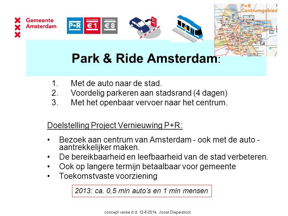 Park & Ride Amsterdam : Doelstelling Project Vernieuwing P+R: Bezoek aan centrum van Amsterdam - ook met de auto - aantrekkelijker maken.