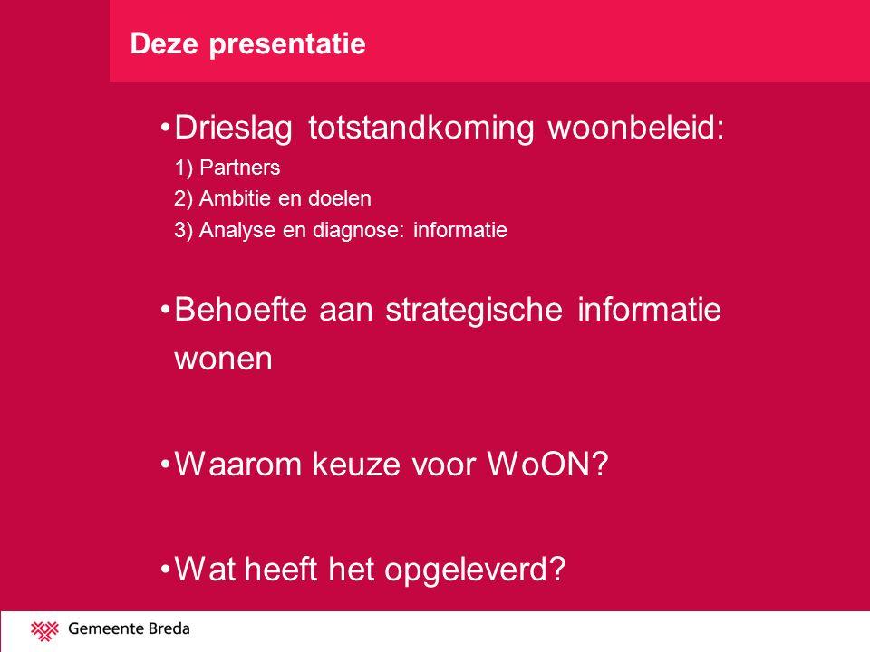 Deze presentatie Drieslag totstandkoming woonbeleid: 1) Partners 2) Ambitie en doelen 3) Analyse en diagnose: informatie Behoefte aan strategische informatie wonen Waarom keuze voor WoON.
