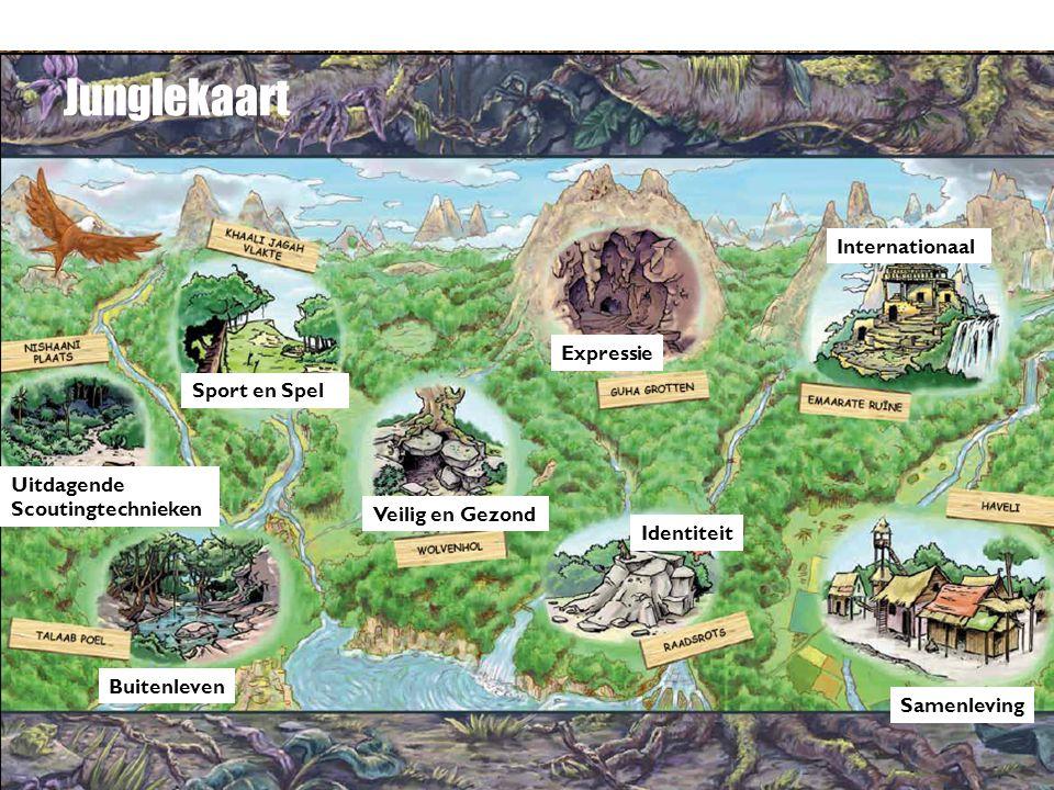 Junglekaart Buitenleven Sport en Spel Samenleving Uitdagende Scoutingtechnieken Identiteit Internationaal Veilig en Gezond Expressie