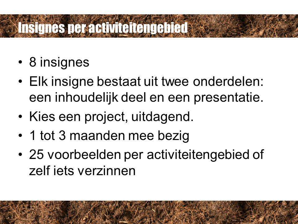 Insignes per activiteitengebied 8 insignes Elk insigne bestaat uit twee onderdelen: een inhoudelijk deel en een presentatie.