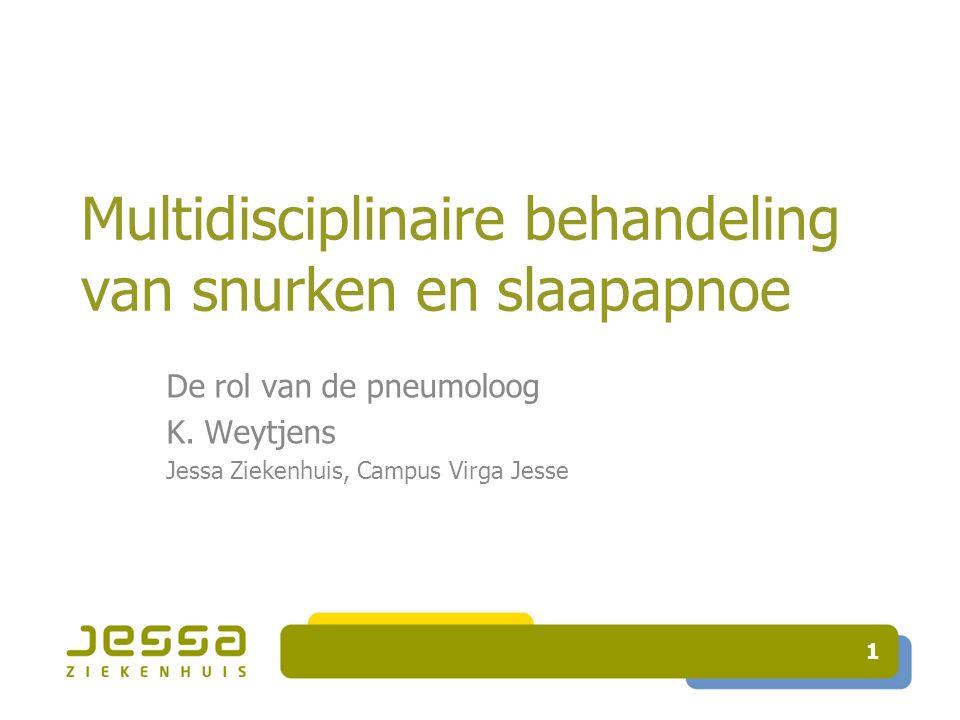 1 Multidisciplinaire behandeling van snurken en slaapapnoe De rol van de pneumoloog K. Weytjens Jessa Ziekenhuis, Campus Virga Jesse