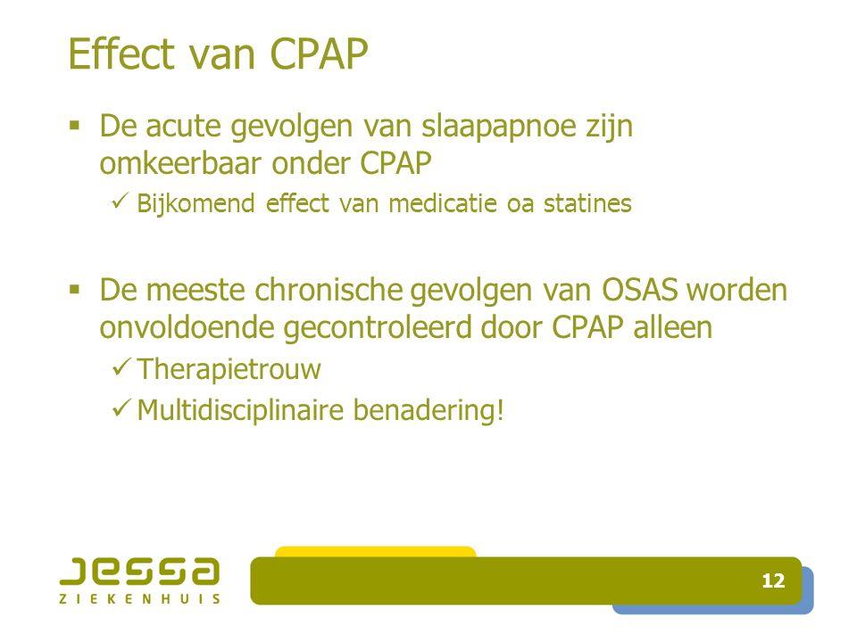 Effect van CPAP  De acute gevolgen van slaapapnoe zijn omkeerbaar onder CPAP Bijkomend effect van medicatie oa statines  De meeste chronische gevolgen van OSAS worden onvoldoende gecontroleerd door CPAP alleen Therapietrouw Multidisciplinaire benadering.
