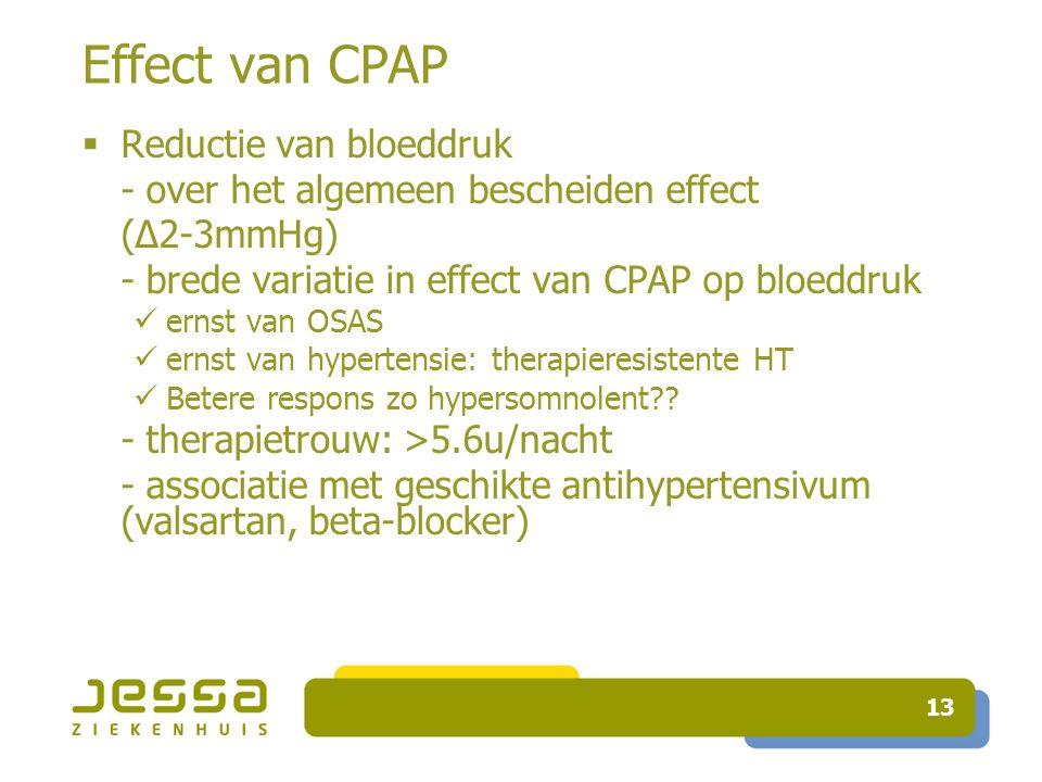 13 Effect van CPAP  Reductie van bloeddruk - over het algemeen bescheiden effect (∆2-3mmHg) - brede variatie in effect van CPAP op bloeddruk ernst van OSAS ernst van hypertensie: therapieresistente HT Betere respons zo hypersomnolent .