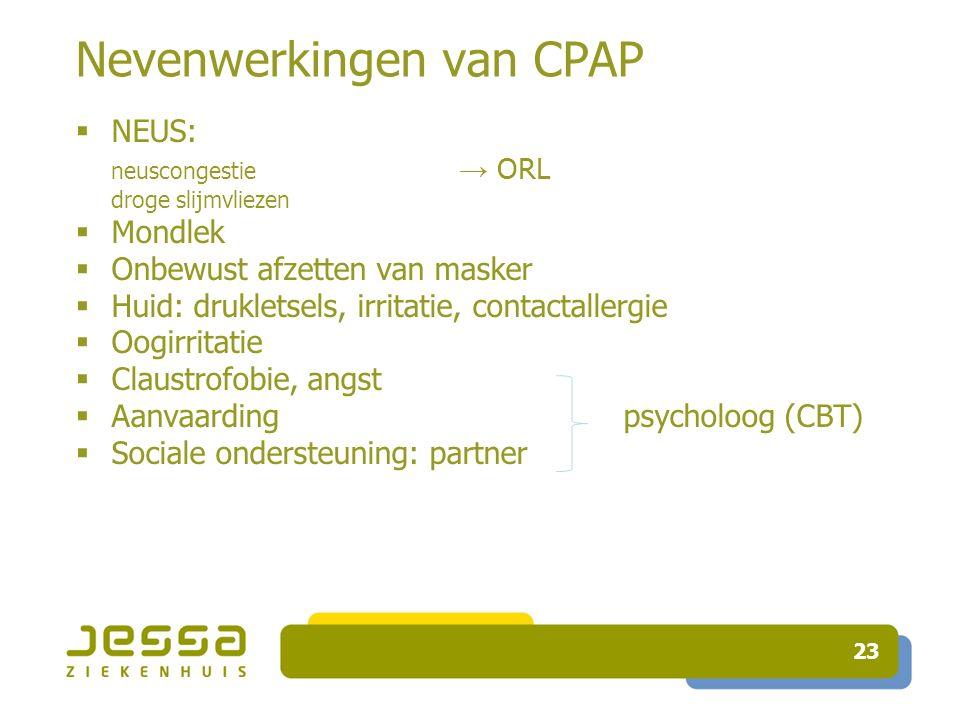 23 Nevenwerkingen van CPAP  NEUS: neuscongestie → ORL droge slijmvliezen  Mondlek  Onbewust afzetten van masker  Huid: drukletsels, irritatie, con