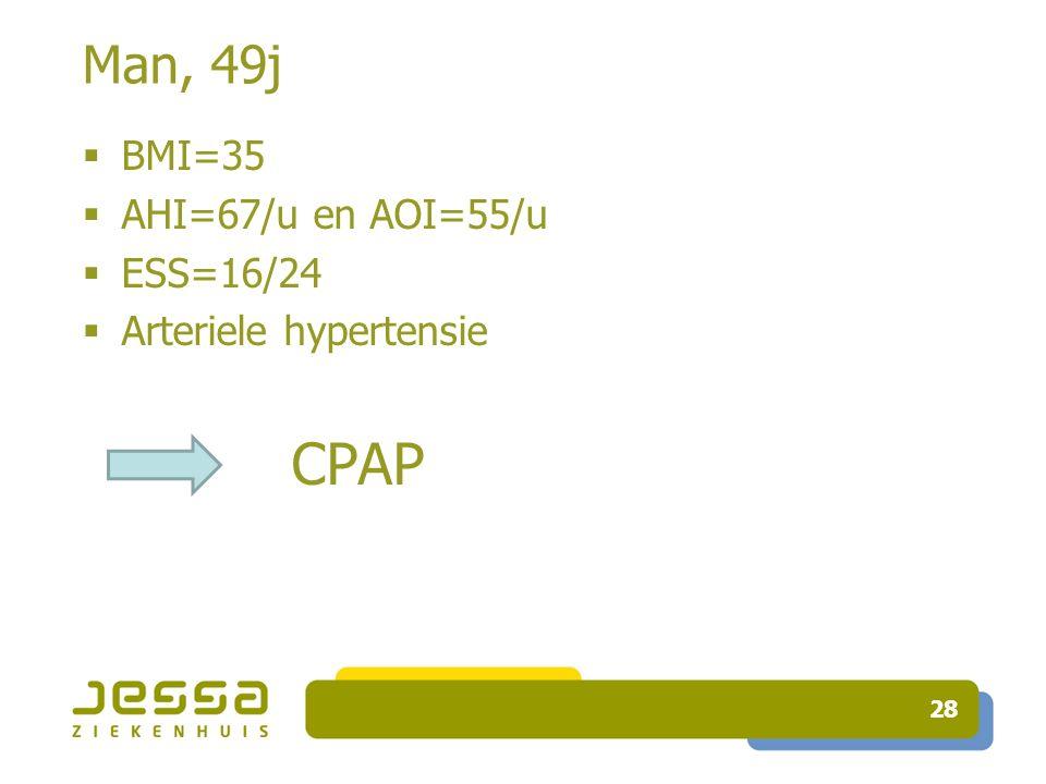 28 Man, 49j  BMI=35  AHI=67/u en AOI=55/u  ESS=16/24  Arteriele hypertensie CPAP