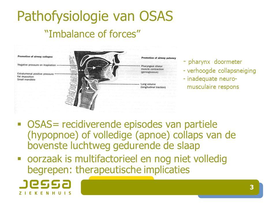 4 Impact van OSAS Intermittente hypoxemie apnoe Sympathische activatie, oxidatieve stress, systemische inflammatie endotheliale dysfunctie Hypertensie en cardiovasculaire aandoeningen (49%*) metabole gevolgen (32.9%*) hypersomnolentie en cognitieve dysfunctie, impact op levenskwaliteit en sociaal functioneren Verhoogde mortaliteit *ESADA,ERJ sept 2011; 38(3):635 Morbiede obesitas, COPD, OHS slaapfragmentatie
