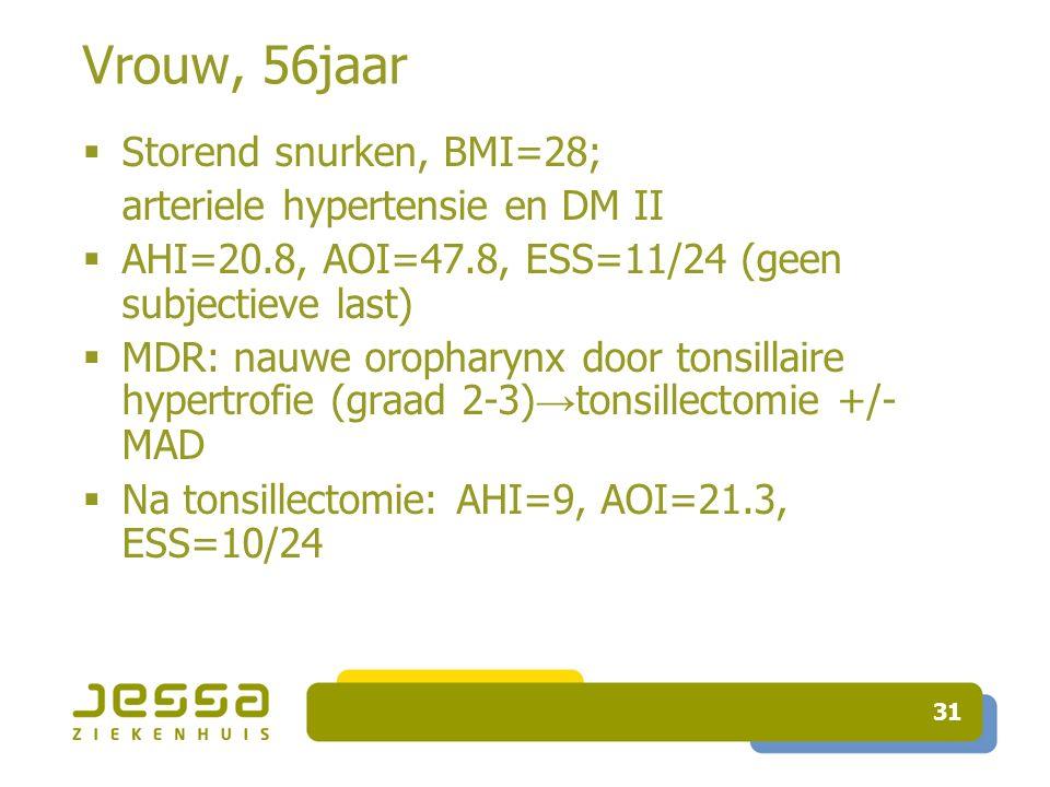31 Vrouw, 56jaar  Storend snurken, BMI=28; arteriele hypertensie en DM II  AHI=20.8, AOI=47.8, ESS=11/24 (geen subjectieve last)  MDR: nauwe oropharynx door tonsillaire hypertrofie (graad 2-3) → tonsillectomie +/- MAD  Na tonsillectomie: AHI=9, AOI=21.3, ESS=10/24