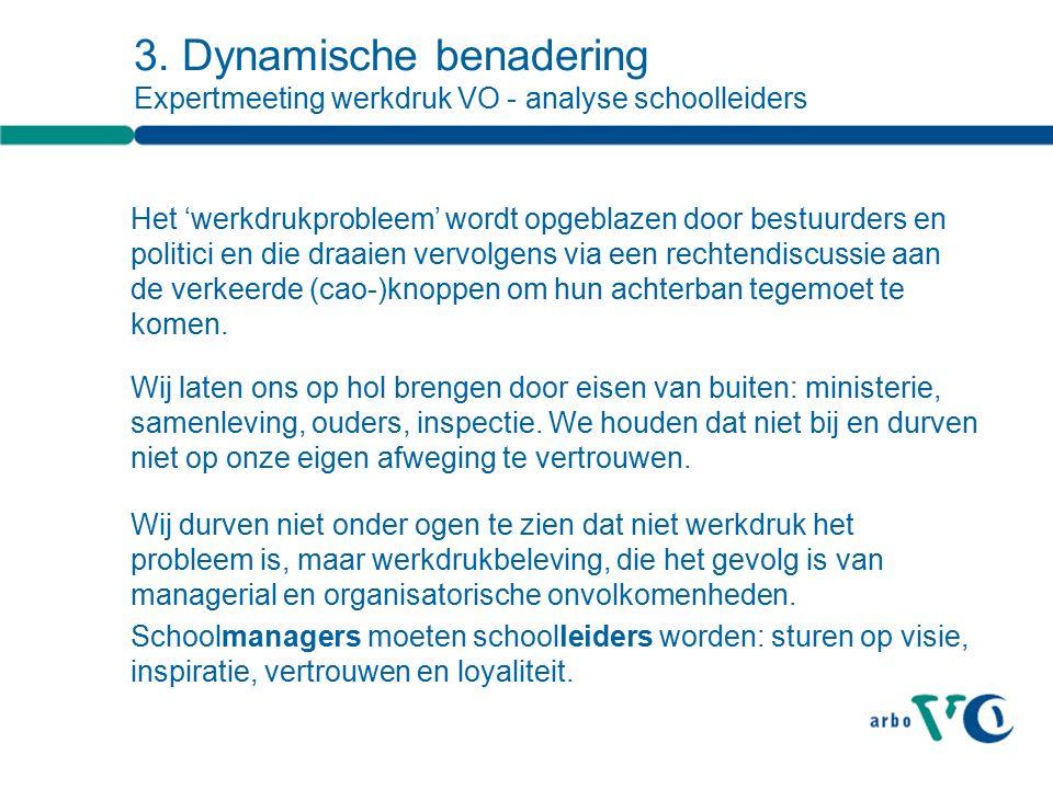 3. Dynamische benadering Expertmeeting werkdruk VO - analyse schoolleiders Het 'werkdrukprobleem' wordt opgeblazen door bestuurders en politici en die