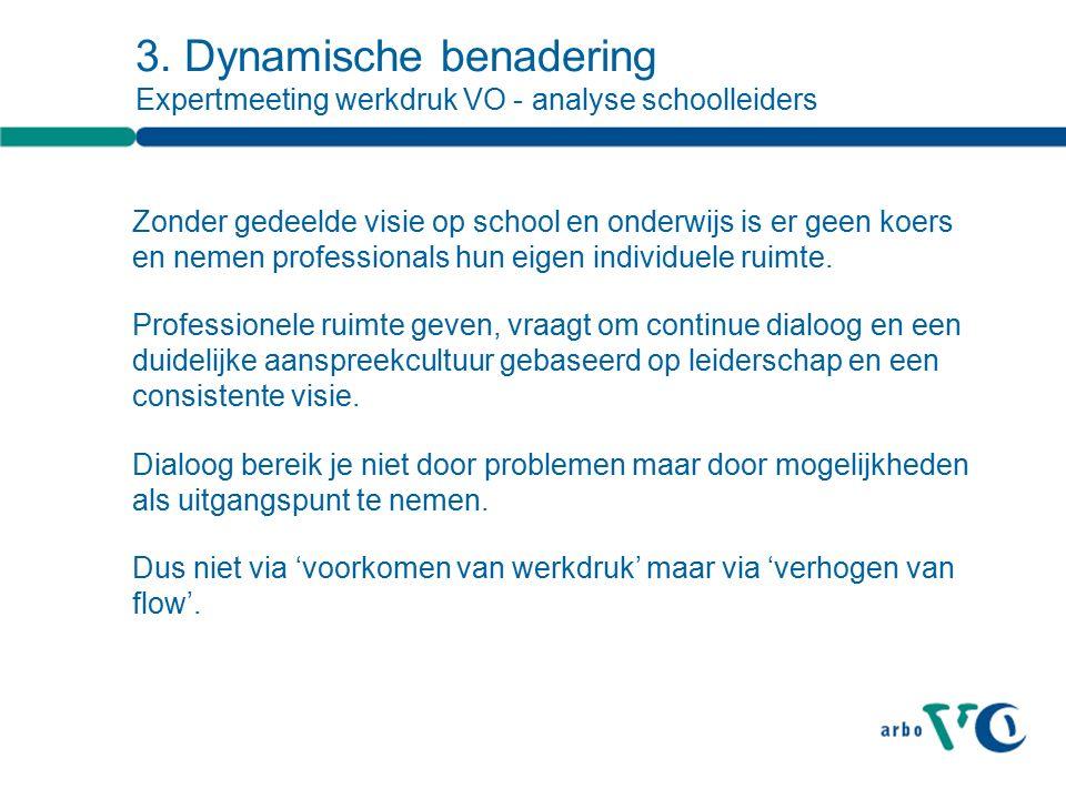 3. Dynamische benadering Expertmeeting werkdruk VO - analyse schoolleiders Zonder gedeelde visie op school en onderwijs is er geen koers en nemen prof