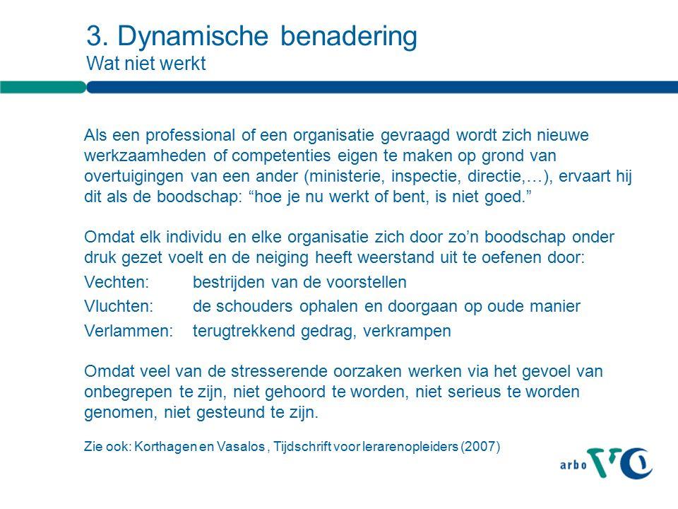 3. Dynamische benadering Wat niet werkt Als een professional of een organisatie gevraagd wordt zich nieuwe werkzaamheden of competenties eigen te make