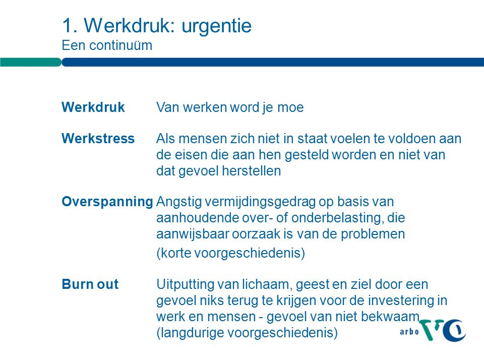 1. Werkdruk: urgentie Een continuüm Werkdruk Van werken word je moe WerkstressAls mensen zich niet in staat voelen te voldoen aan de eisen die aan hen