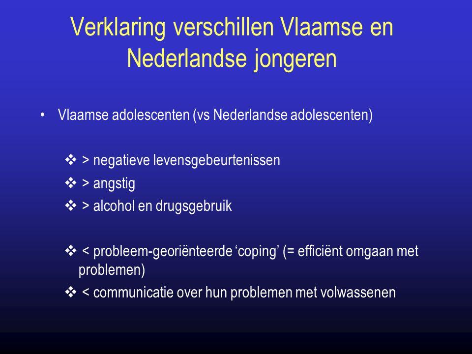 Verklaring verschillen Vlaamse en Nederlandse jongeren Vlaamse adolescenten (vs Nederlandse adolescenten)  > negatieve levensgebeurtenissen  > angstig  > alcohol en drugsgebruik  < probleem-georiënteerde 'coping' (= efficiënt omgaan met problemen)  < communicatie over hun problemen met volwassenen