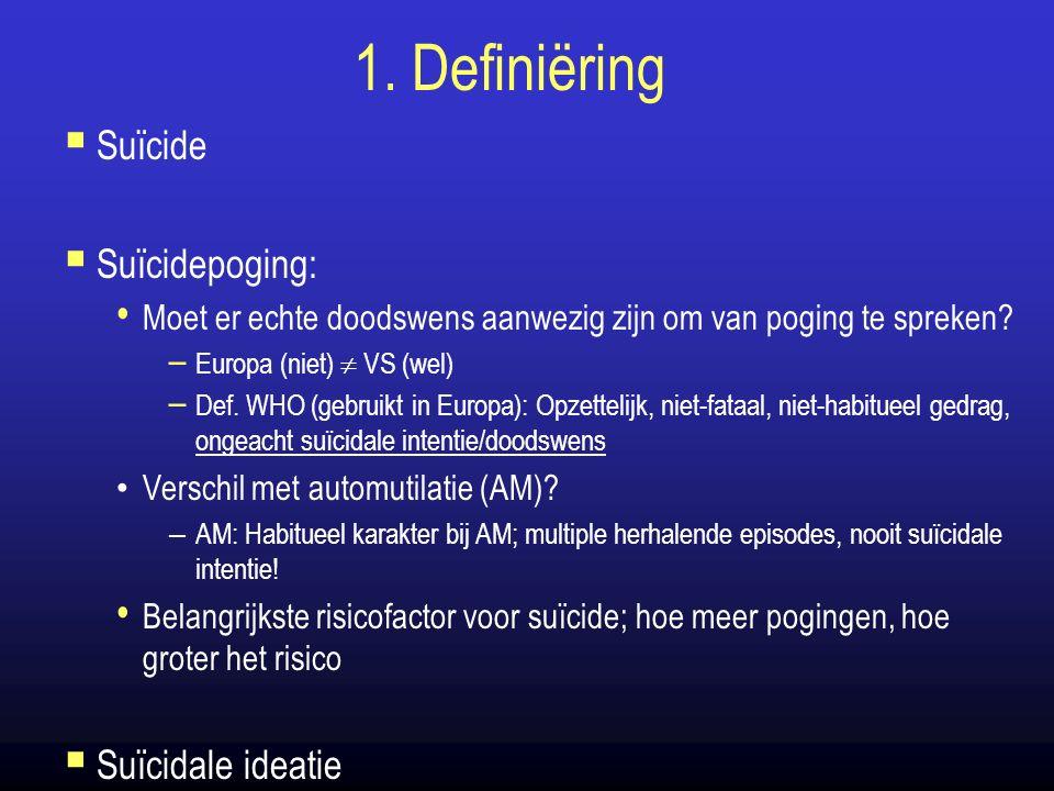 1. Definiëring  Suïcide  Suïcidepoging: Moet er echte doodswens aanwezig zijn om van poging te spreken? – Europa (niet)  VS (wel) – Def. WHO (gebru