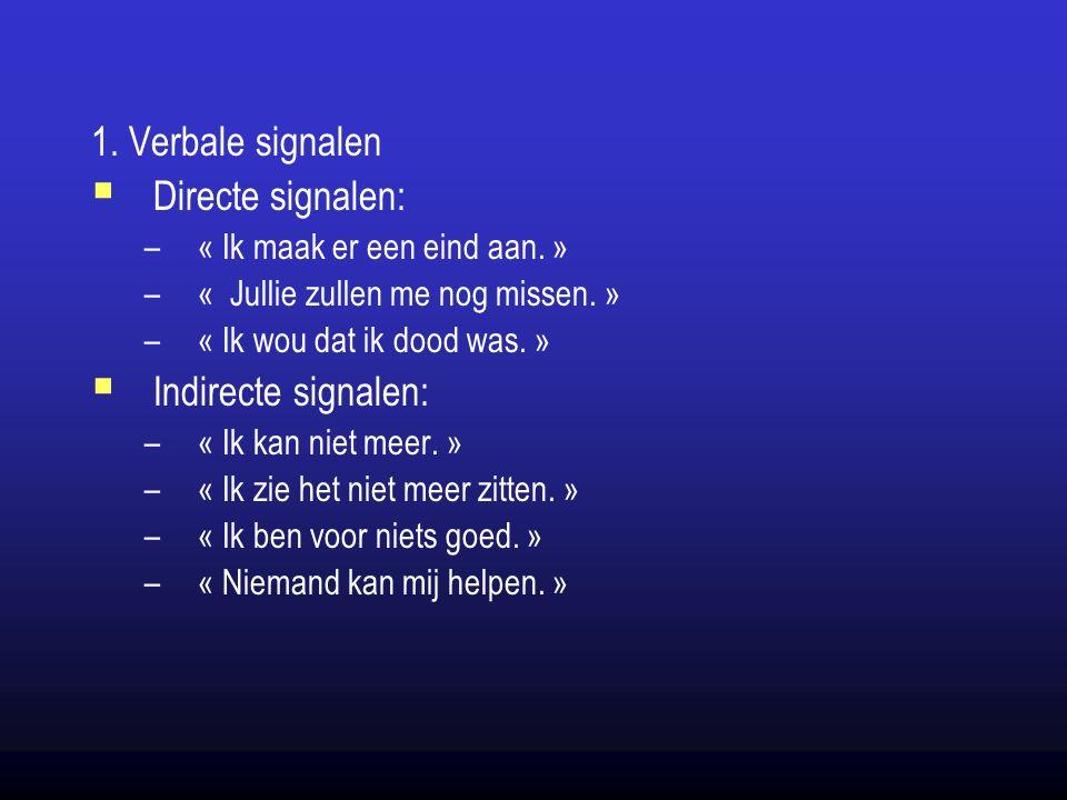 1. Verbale signalen  Directe signalen: –« Ik maak er een eind aan.