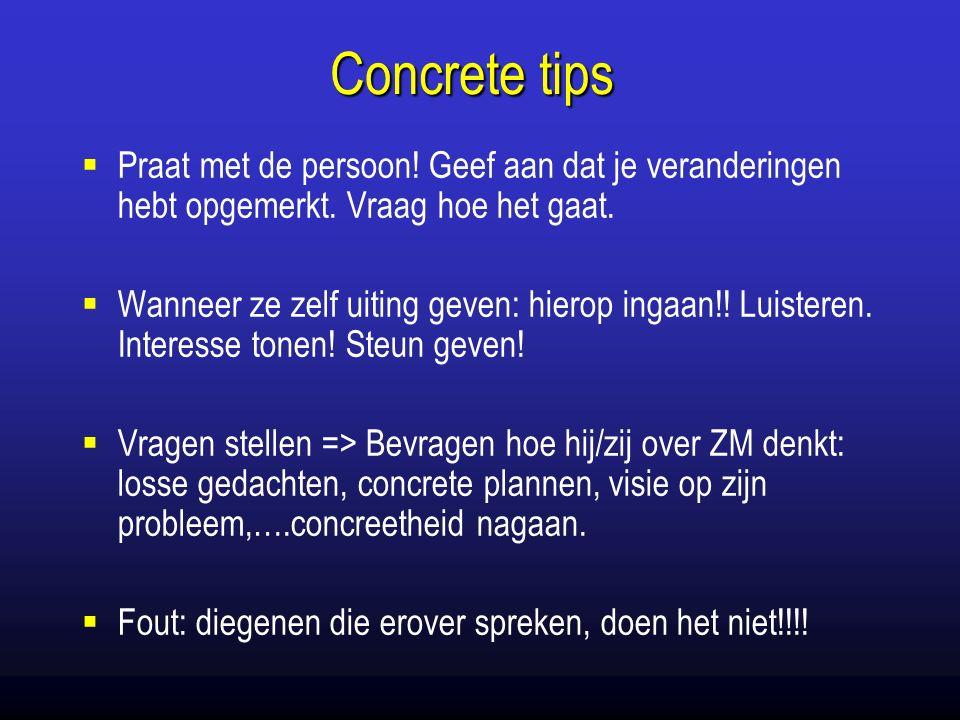 Concrete tips  Praat met de persoon. Geef aan dat je veranderingen hebt opgemerkt.