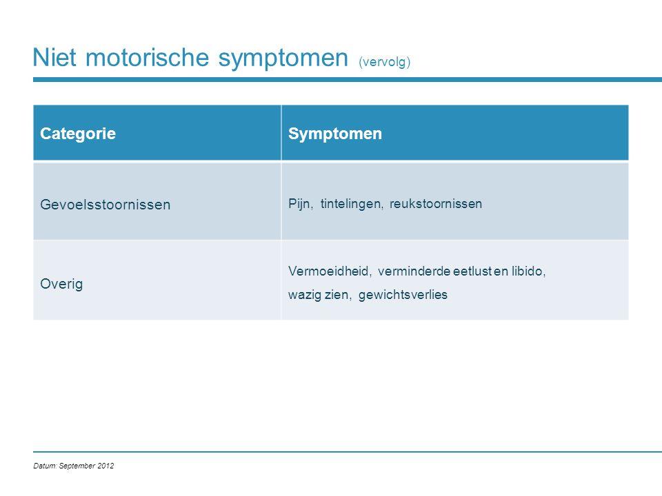 Niet motorische symptomen (vervolg) CategorieSymptomen Gevoelsstoornissen Pijn, tintelingen, reukstoornissen Overig Vermoeidheid, verminderde eetlust en libido, wazig zien, gewichtsverlies Datum: September 2012