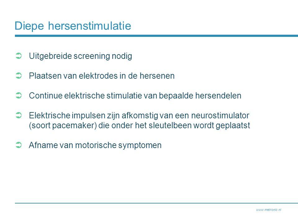 Diepe hersenstimulatie  Uitgebreide screening nodig  Plaatsen van elektrodes in de hersenen  Continue elektrische stimulatie van bepaalde hersendelen  Elektrische impulsen zijn afkomstig van een neurostimulator (soort pacemaker) die onder het sleutelbeen wordt geplaatst  Afname van motorische symptomen www.metronic.nl
