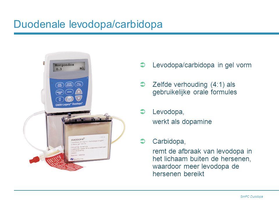 Levodopa/carbidopa in gel vorm  Zelfde verhouding (4:1) als gebruikelijke orale formules  Levodopa, werkt als dopamine  Carbidopa, remt de afbraak van levodopa in het lichaam buiten de hersenen, waardoor meer levodopa de hersenen bereikt Duodenale levodopa/carbidopa SmPC Duodopa