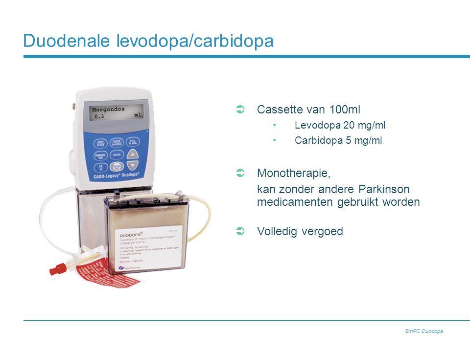  Cassette van 100ml Levodopa 20 mg/ml Carbidopa 5 mg/ml  Monotherapie, kan zonder andere Parkinson medicamenten gebruikt worden  Volledig vergoed Duodenale levodopa/carbidopa SmPC Duodopa