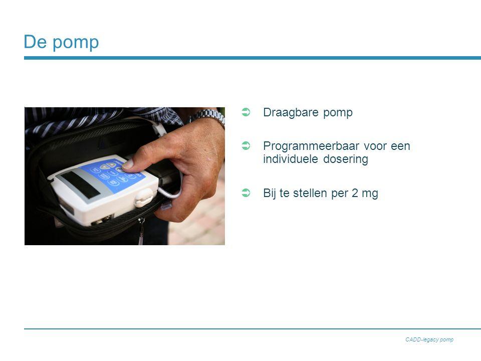 De pomp  Draagbare pomp  Programmeerbaar voor een individuele dosering  Bij te stellen per 2 mg CADD-legacy pomp