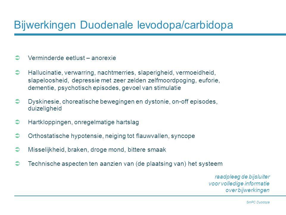 Bijwerkingen Duodenale levodopa/carbidopa  Verminderde eetlust – anorexie  Hallucinatie, verwarring, nachtmerries, slaperigheid, vermoeidheid, slape