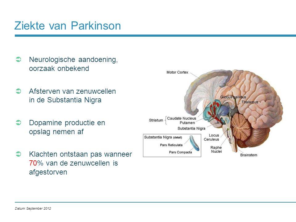 Ziekte van Parkinson  Neurologische aandoening, oorzaak onbekend  Afsterven van zenuwcellen in de Substantia Nigra  Dopamine productie en opslag ne