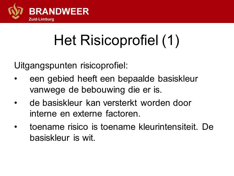 Het Risicoprofiel (1) Uitgangspunten risicoprofiel: een gebied heeft een bepaalde basiskleur vanwege de bebouwing die er is.