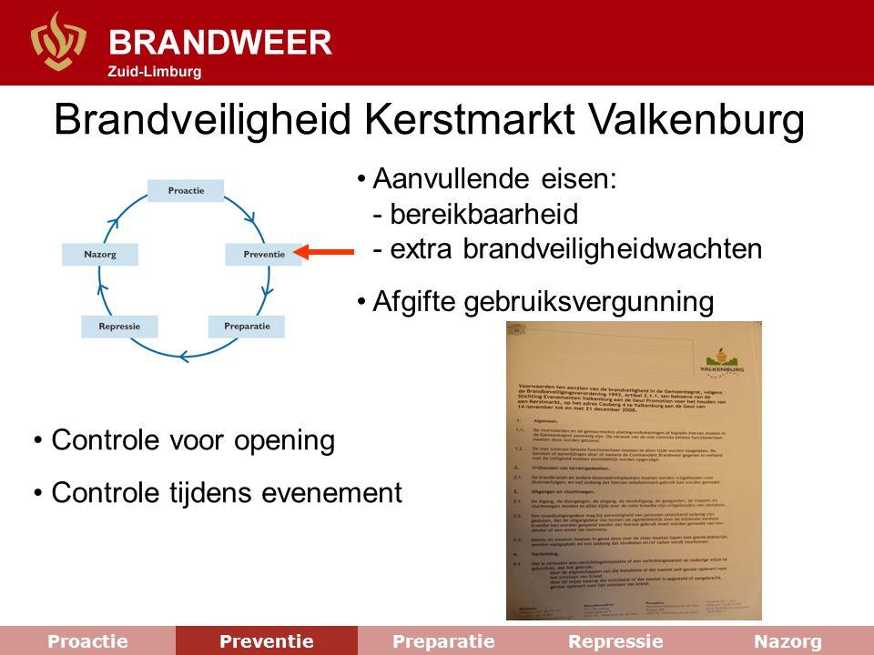 Brandveiligheid Kerstmarkt Valkenburg Aanvullende eisen: - bereikbaarheid - extra brandveiligheidwachten Afgifte gebruiksvergunning Controle voor open