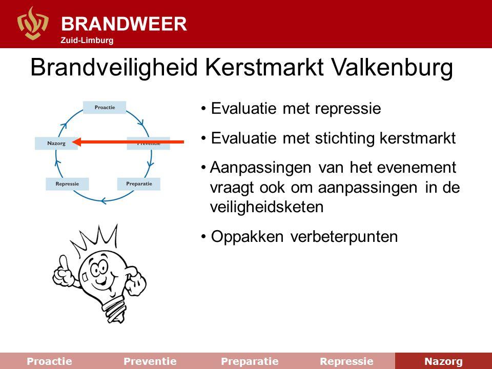 Brandveiligheid Kerstmarkt Valkenburg Evaluatie met repressie Evaluatie met stichting kerstmarkt Aanpassingen van het evenement vraagt ook om aanpassi