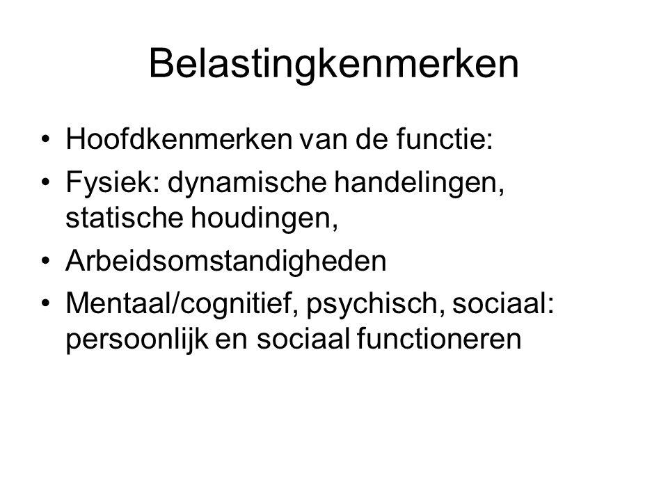 Belastingkenmerken Hoofdkenmerken van de functie: Fysiek: dynamische handelingen, statische houdingen, Arbeidsomstandigheden Mentaal/cognitief, psychisch, sociaal: persoonlijk en sociaal functioneren