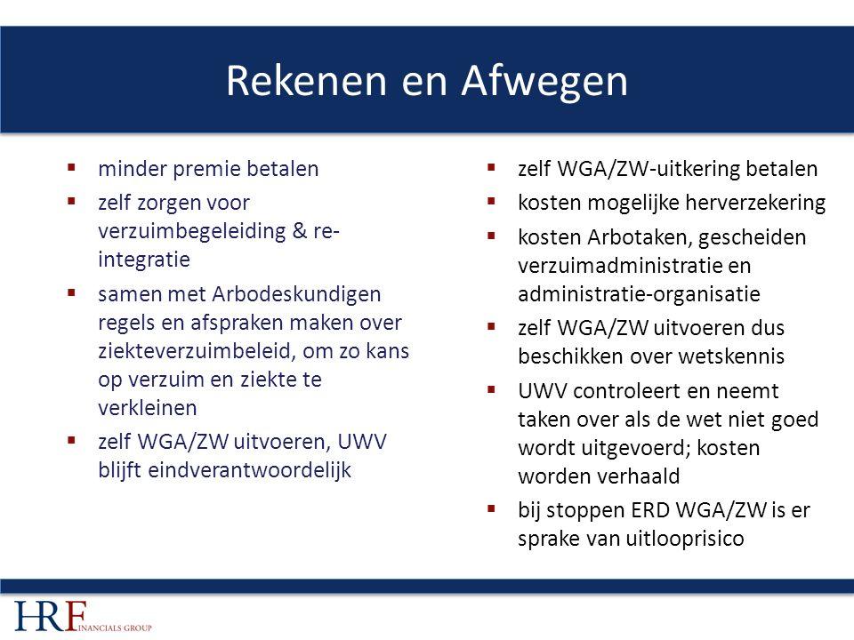 Rekenen en Afwegen  minder premie betalen  zelf zorgen voor verzuimbegeleiding & re- integratie  samen met Arbodeskundigen regels en afspraken maken over ziekteverzuimbeleid, om zo kans op verzuim en ziekte te verkleinen  zelf WGA/ZW uitvoeren, UWV blijft eindverantwoordelijk  zelf WGA/ZW-uitkering betalen  kosten mogelijke herverzekering  kosten Arbotaken, gescheiden verzuimadministratie en administratie-organisatie  zelf WGA/ZW uitvoeren dus beschikken over wetskennis  UWV controleert en neemt taken over als de wet niet goed wordt uitgevoerd; kosten worden verhaald  bij stoppen ERD WGA/ZW is er sprake van uitlooprisico