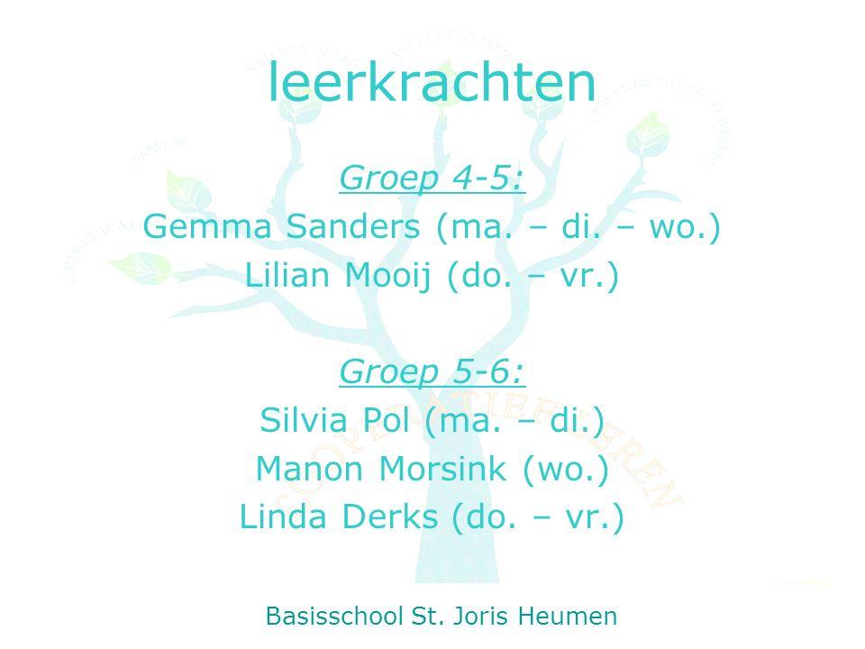 leerkrachten Groep 4-5: Gemma Sanders (ma. – di. – wo.) Lilian Mooij (do.