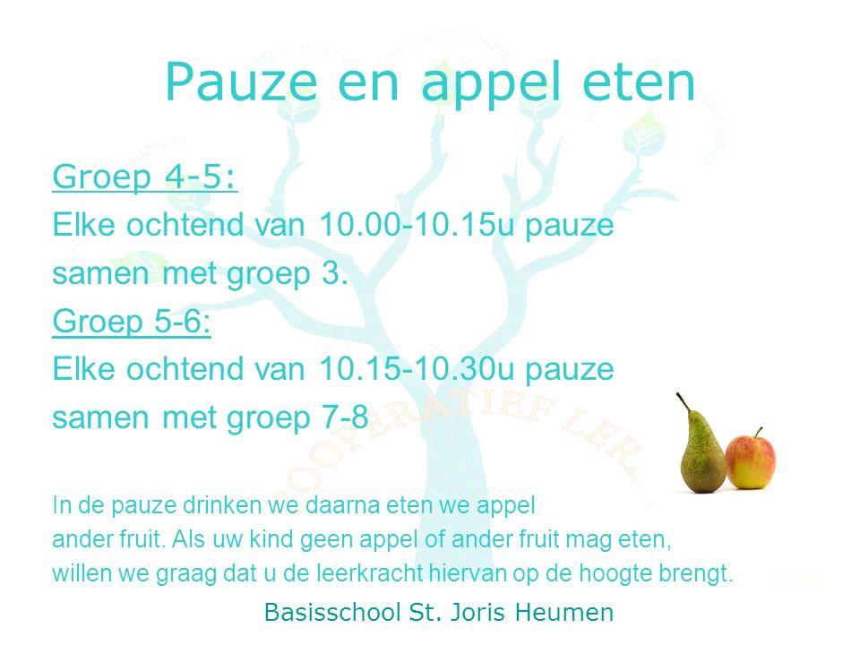 Pauze en appel eten Groep 4-5: Elke ochtend van 10.00-10.15u pauze samen met groep 3.