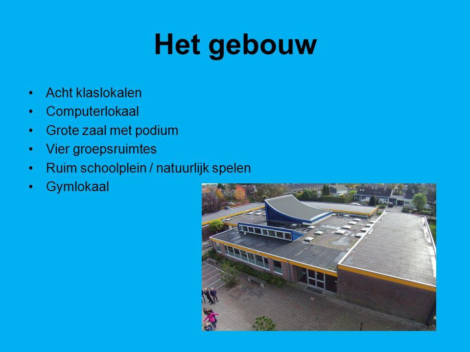 Het gebouw Acht klaslokalen Computerlokaal Grote zaal met podium Vier groepsruimtes Ruim schoolplein / natuurlijk spelen Gymlokaal
