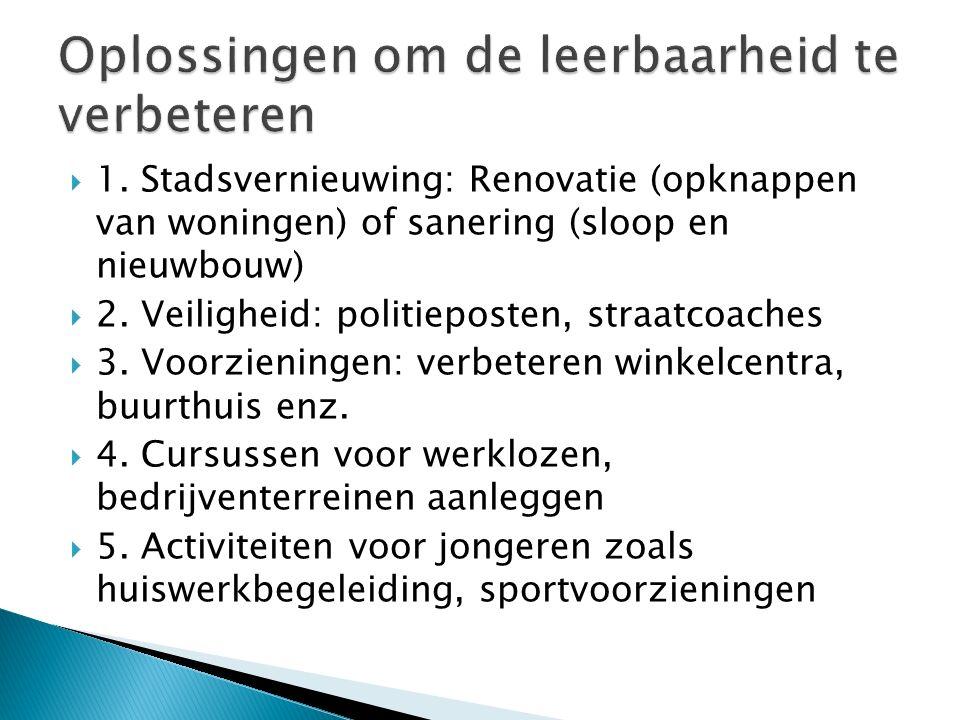  1. Stadsvernieuwing: Renovatie (opknappen van woningen) of sanering (sloop en nieuwbouw)  2.