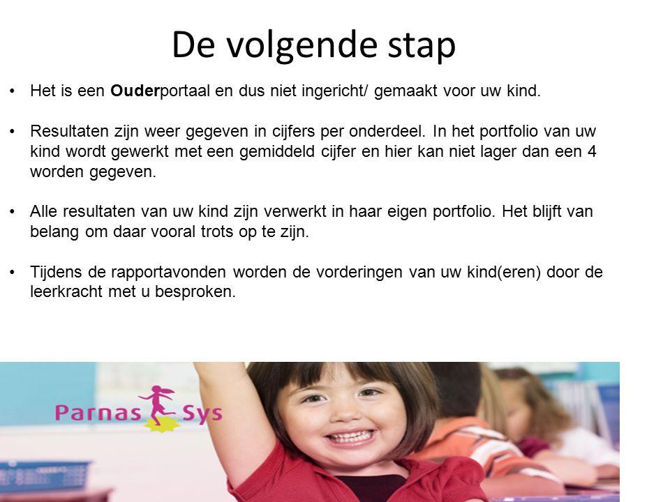De volgende stap Het is een Ouderportaal en dus niet ingericht/ gemaakt voor uw kind.