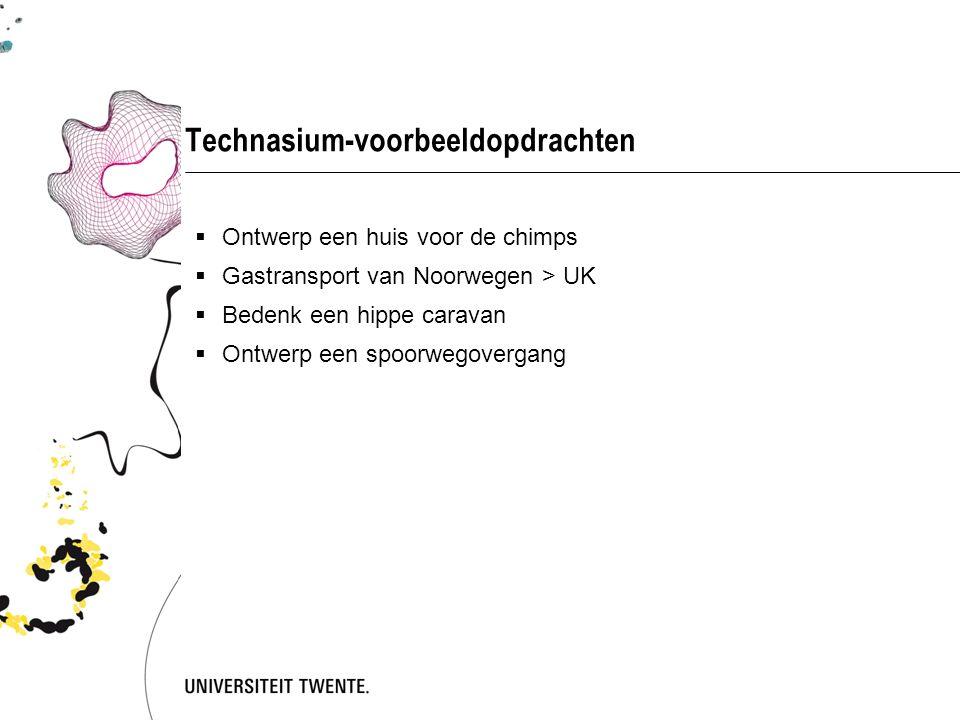 Technasium-voorbeeldopdrachten  Ontwerp een huis voor de chimps  Gastransport van Noorwegen > UK  Bedenk een hippe caravan  Ontwerp een spoorwegovergang