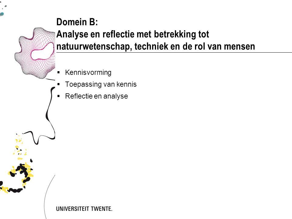 Domein B: Analyse en reflectie met betrekking tot natuurwetenschap, techniek en de rol van mensen  Kennisvorming  Toepassing van kennis  Reflectie en analyse