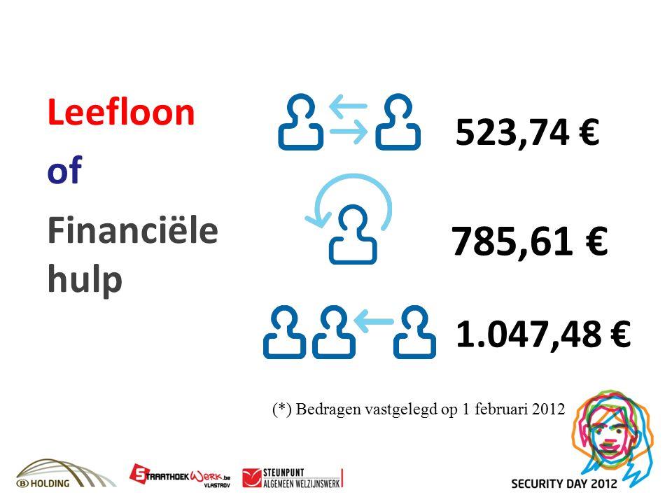 Leefloon of Financiële hulp (*) Bedragen vastgelegd op 1 februari 2012 785,61 € 1.047,48 € 523,74 €