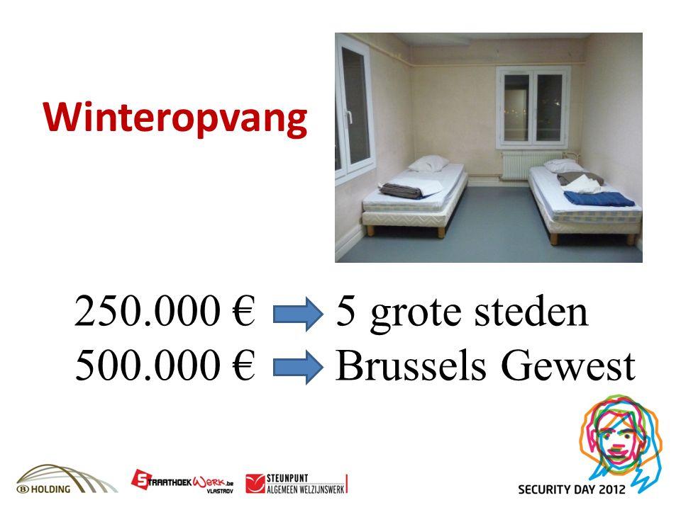 Winteropvang 250.000 € 5 grote steden 500.000 € Brussels Gewest